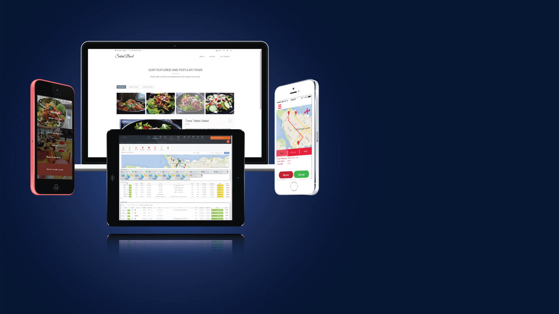 Daily Delivery's full product suite displayed on mobile, tablet and web platforms.